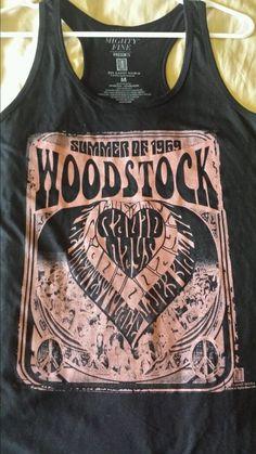 Woodstock Women s Black Medium Tank Top Summer of 1969 Rock Music Festival   MightyFine  TankCami 63fb706a5cd7