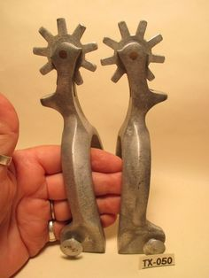 ANTIQUE Beefy Men;s Form Fitter RICARDO Heavy Aluminum Cowboy SPURS MAKE OFFER~