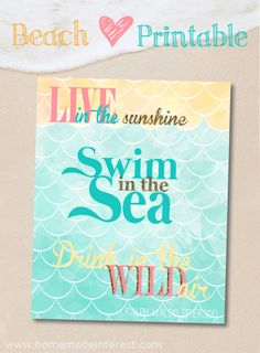 Beautiful Beach Printable - Live in the Sunshine. Swim in the Sea. Drink in the Wild Air - Ralph Waldo Emerson