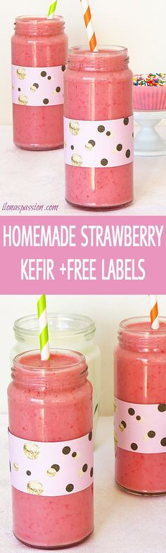Better than a store-bought strawberry kefir recipe made with sweet strawberries and buttermilk. Sweet and tangy strawberry kefir + Free Printable labels by http://ilonaspassion.com I /ilonaspassion/