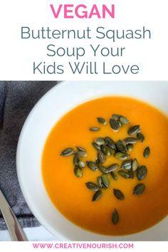 The Simplest Vegan Butternut Squash Soup Your Kids Will Love. #butternutsquash #veganrecipe #familymeal #veggiesoups #veggiemeal Homemade Baby Puree Recipes, Baby Recipes, Pureed Food Recipes, Veggie Recipes, Vegan Butternut Squash Soup, Eat Pretty, Salad With Sweet Potato, Vegetable Puree, Healthy Vegetables