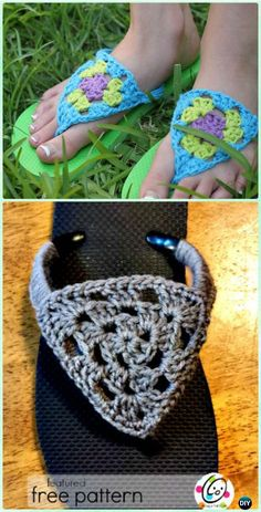 Crochet Granny Triangle Flip Flops Free Pattern - Crochet Flip Flop Footwear Makeover Free Patterns