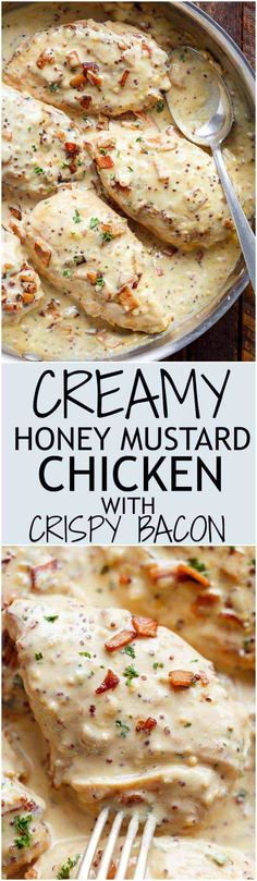A deliciously Creamy Honey Mustard Chicken with crispy bacon pieces will become your new favourite dinner -- flour less and low carb WITH dairy free options! | https://cafedelites.com