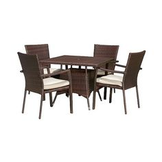 Patio Dining Set: Christopher Knight Home Campbell 5-piece Wicker... ($610) ❤ liked on Polyvore featuring home, outdoors, patio furniture, outdoor patio sets, brown, 5 piece outdoor patio set, outdoor wicker patio sets, outdoor garden furniture, wicker patio furniture and outdoor patio furniture