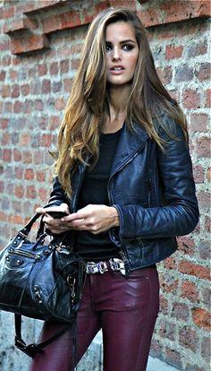 Izabel Goulart - street style ♥balenciaga bag black leather jacket red leather pants model off duty