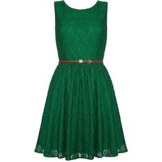 Yumi Lace Skater Dress ($51) ❤ liked on Polyvore featuring dresses, green, short dresses, vestidos, sale, lace skater dress, sleeveless skater dress, green summer dress and lace summer dress