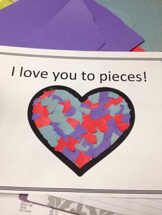 Tear construction or tissue paper and glue into heart shape for easy kids valentines