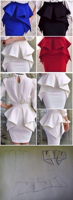 Falda tubo con diseño en cintura con volante