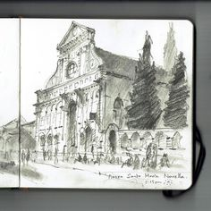 Piazza Santa Maria Novella. I was last here 17 years ago on a school art trip the when the area was still somewhat edgy... This was sketched from the terrace of a fairly swish hotel (not there last time!)   #Florence #Piazza #SantaMariaNovella #Firenze # sketchbook #graphite #pencil