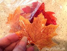 Easy to make Single Use Fall Leaf Soaps! (only 2 ingredients.. fake leaves and glycerin soap)