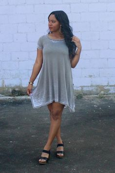 Short Sleeve Burn Out Dress #iHeartDSP