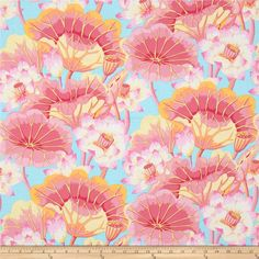 Kaffe Fasset Collective Lake Blossoms Pink from @fabricdotcom  Designed by Kaffe Fassett for Westminster/Rowan Fabrics, this cotton print is perfect for quilting, apparel and home decor accents. Colors include pink, orange, yellow, and white on a light blue background.