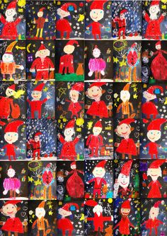 Creative and Great Christmas in Art Education in Elementary School - The Website of . Preschool Christmas, Christmas Crafts For Kids, Christmas Art, Kindergarten Art Projects, Classroom Art Projects, Primary School Art, Elementary Schools, Winter Art Projects, Art Plastique