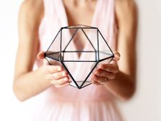 Small Geometric Terrarium, Glass Indoor Planter, Stained Glass Terrarium Container, Modern Planter for Indoor Gardening, Cuboctahedron Indoor Succulent Planter, Indoor Planters, Succulent Terrarium, Indoor Gardening, Glass Terrarium Containers, Gift For Architect, Terrarium Wedding, How To Make Terrariums, Modern Planters