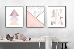Geometric pink rose gold wall print triangles mountains