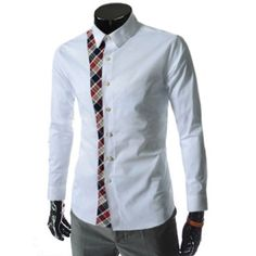 Stylish Slimming Shirt Collar Plaid Splicing Long Sleeves Polyester Shirt For Men