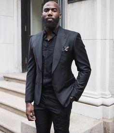 Malcolm Jenkins Professional Beard Styles, Professional Attire, Black Suit Men, Black Men Beards, Men's Two Piece Suits, Daily Street Looks, Formal Men Outfit, Beard Look, Men With Street Style