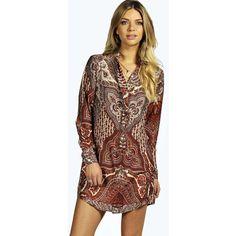 Boohoo Paloma 70's Paisley Print Shirt Dress ($35) ❤ liked on Polyvore featuring dresses, orange, orange maxi dress, polka dot maxi dress, bohemian maxi dress, floral print maxi dress and floral dress