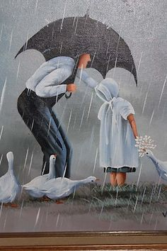 Framed Original Painting Van Cliff Children and Geese in The Rain | eBay