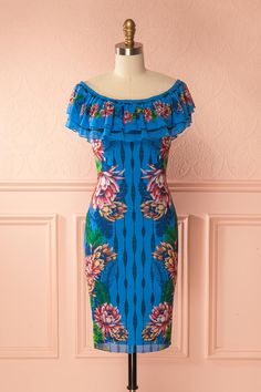 Cylia Blue #boutique1861 /  Whether for an escape to the exotic and sunny South or for an afternoon spent pool-side, you'll already have a party in mind with this colourful cocktail dress! Its light mesh and lining are both extremely stretchable, moulding to your silhouette in total comfort.