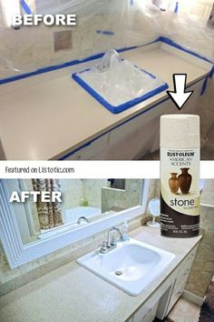 Update your countertops with stone spray paint! -- 29 Cool Spray Paint Ideas That Will Save You A Ton Of Money WHAT? Update your countertops with stone spray paint! -- 29 Cool Spray Paint Ideas That Will Save You A Ton Of Money Home Upgrades, Stone Spray Paint, Home Repairs, Diy Home Improvement, My New Room, Cheap Home Decor, Diy Furniture, Office Furniture, Spray Painting Furniture