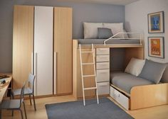 good use of space for children's shared room. like the colours used. wardrobe should flushed to the top.
