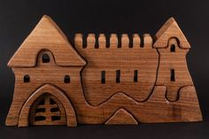 Puzzle castle toy for children and toddlers by HollossyWoodworks