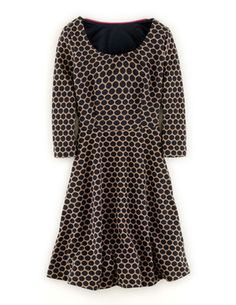 Jersey Jacquard Dress Boden Navy/Ginger (pair with bright colored belt)