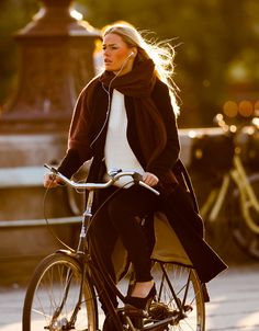 Hot Girls in Trench Coats on Bikes