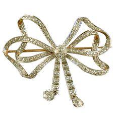 Tiffany and Co 18kt Gold & Diamond Bow Brooch, circa 1910