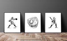 Baseball Print Set Sports Prints Vintage Sports by FatFrogPrints