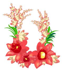Red Exotic Flowers Decoration PNG Image | Gallery Yopriceville - High-Quality Images and Transparent PNG Free Clipart