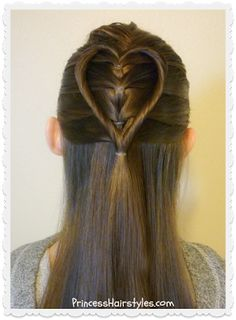 Elastic braid twist heart hairstyle.  Cute and easy Valentine's Hairstyle.