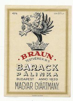Big Old Vintage Label 1910s Hungary Palinka Brandy Apricot 13x9cm P 249   eBay