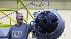 The result of an international team effort, this robot has the compact shape of a metallic sphere and is stuffed with high-tech electronics. Sixty centimetres in diameter, it's built to withstand the pressure at deep. Underwater Drone, International Teams, Robot, Engineers, Effort, Compact, Metallic, Shape, Electronics