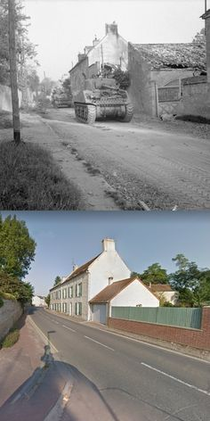 Then and Now WWII. Sherman tank and Sherman Firefly of the British Army roll through Escoville during Operation Goodwood. Operation Goodwood was a British offensive in the Second World War, that took place between 18 and 20 July 1944 as part of the Battle for Caen in Normandy, France.