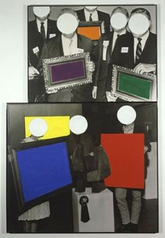 Frames and Ribbon, 1988, ,   Black-and-white photographs and vinyl paint. © John Baldessari    In the piece Frames and Ribbons, Baldessari incorporates flat, geometric shapes of color to change the meaning of appropriated images.