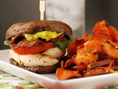 Portabella Sandwich Stack with Sweet Potato Chips