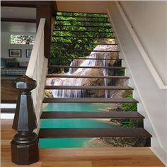 Waterfall Print 3D Waterproof Stair Steps Stickers/Wall Stickers