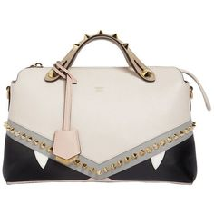 Fendi Women Small By The Way Bugs Leather Bag (€2.140) ❤ liked on Polyvore featuring bags, handbags, shoulder bags, beige, studded leather handbags, fendi purse, white shoulder bag, fendi shoulder bag and leather shoulder handbags