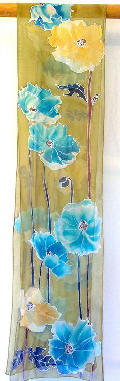 Hand Painted Silk Scarf. Silk Scarves Takuyo. Blue Poppies Green Silk Scarf. Silk Chiffon. Handmade in USA. Approx 11x90 in.. $162.00, via Etsy.