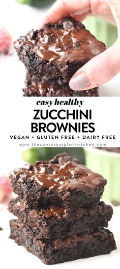 You will be amazed by these moist, fudgy gluten-free vegan zucchini brownies. A healthy zucchini brownie recipe refined sugar free and paleo. Gluten Free Zucchini Brownies, Gluten Free Zucchini Recipes, Zucchini Desserts, Chocolate Zucchini Brownies, Zuchinni Recipes, Zucchini Brownies Paleo, Vegan Sweets, Healthy Dessert Recipes, Vegan Desserts