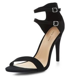 Black Double Ankle Strap Heels