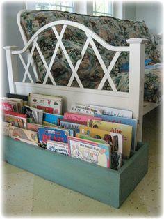 shelves repurposed into a floor bookcase...neat idea!