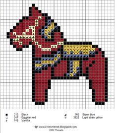 free cross stitch Swedish Dala horse