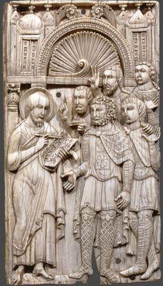 Ivories of the So-Called Grado Chair: Saint Mark Preaching, 7th–8th century, Made in Eastern Mediterranean or Egypt, 18.9 x 10.5 cm | Civiche Raccolte d'Arte Applicata—Castello Sforzesco, Milan