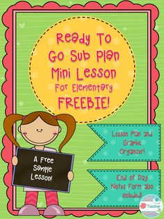 "This lesson plan is ready to go for your substitute teacher! The sub plan mini lesson is appropriate for elementary grades. All the students need is a copy of the graphic organizer and their own silent reading book. The ""How Did Your Day Go"" Substitute notes form is also included. You can leave this for your sub to leave meaningful notes at the end of the day. Full days are available as well!"