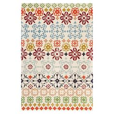 Bring a pop of pattern to your floors with this hand-tufted wool rug, showcasing a multicolor medallion-inspired motif.   Product: