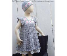 Grey Granny Square Crochet Dress Pattern -Toddler Girl. €5,00, via Etsy.