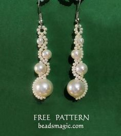 Free pattern for beaded earrings White Moon U need: seed beads 11/0 pearls 4mm, 6mm,